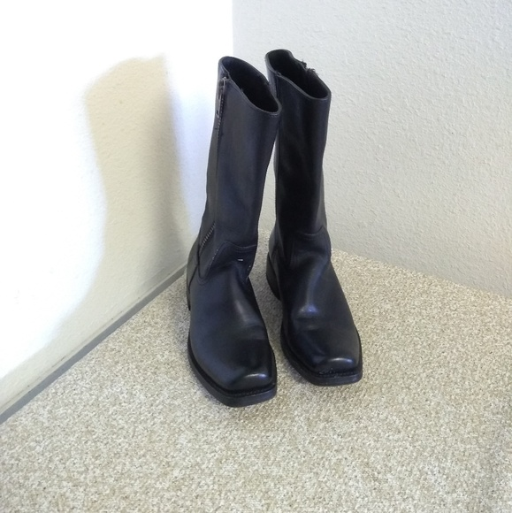 Frye Black Leather Mid Calf Boots